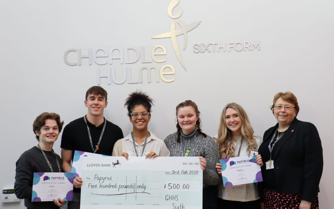 CHHS Sixth Form students raise £500 in support of suicide prevention charity